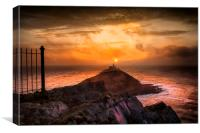 Sunrise at Mumbles lighthouse, Canvas Print