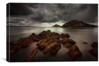 Storm clouds over Mumbles lighthouse, Canvas Print