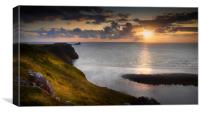 Sunset at Worms Head, Canvas Print
