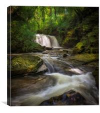The Upper Clydach River waterfall in Swansea, Canvas Print