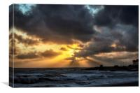 Golden sunset at Porthcawl, Canvas Print