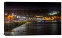 Oystermouth promenade by night, Canvas Print