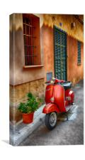 Vespa,Alcudia Old Town,Majorca,Spain., Canvas Print