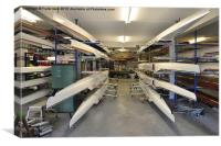 A typical boathouse in use for storing sculls., Canvas Print
