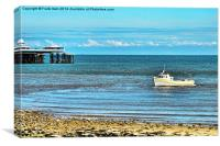 A fishing crise bot in Llandudno Bay., Canvas Print