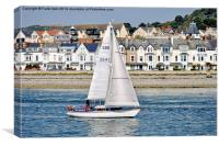 A small yacht sailing slowly along the River Conwy, Canvas Print