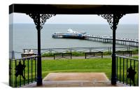 Picture of Llandudno Pier through the bandstand, Canvas Print