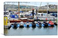 Water craft lie in wait at Conway Marina, Canvas Print