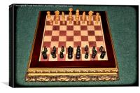 Eearly 1900s chess set on a medieval style board, Canvas Print
