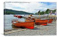 Rowing boats for hire on Windermere, Canvas Print