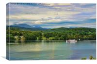 A cruise boat sails along on Windermere, Canvas Print