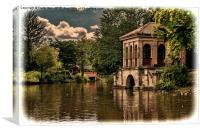 Birkenhead Park's Boathouse & swiss bridge, (grun, Canvas Print