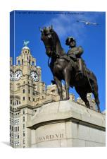 Edward VII in front of Liverpool's Liver Building, Canvas Print