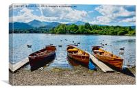 Moored rowing boats on Derwent Water, Canvas Print