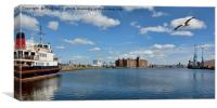 View down Birkenhead's Great Float., Canvas Print
