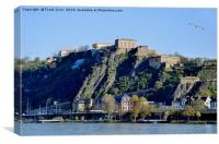 Koblenz, Ehrenbreitstein Fortress on River Rhine, Canvas Print
