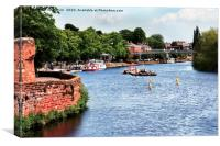 Looking down River Dee from hanbdbridge at Chester, Canvas Print