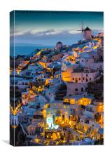 Santorini at Dusk, Canvas Print