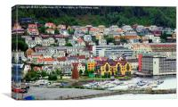 Bergen , Boats and Houses, Canvas Print