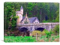 The Gatehouse & Bridge , Mauldslie, Canvas Print