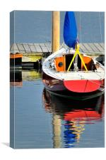 Red boat and reflections Rockland Maine USA, Canvas Print