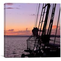 San Diego Sunset and Sailboat on the Waterfront, Canvas Print