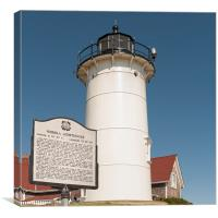 Nobska  Lighthouse with plaque, Falmouth, Cape Cod, Canvas Print