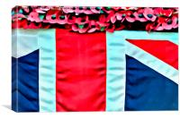 Poppies and the Union Jack flag, Canvas Print
