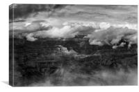 Canyon in Clouds bw, Canvas Print