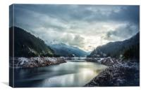 Cougar Reservoir on a Snowy Day, Canvas Print