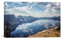 Crater Lake with a view of the Phantom Ship, Canvas Print