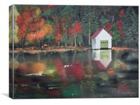Reflections of a Boathouse, Canvas Print