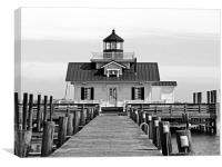 Roanoke Marshes lighthouse Black and White, Canvas Print