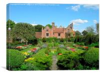 Chenies Manor and Sunken Garden in early Spring, Canvas Print