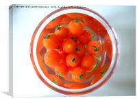 A bowl of baby tomatoes arranged in water., Canvas Print
