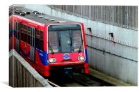 The DLR at City Airport, Canvas Print