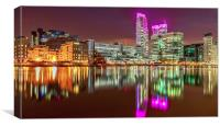 Pink Glow at Canary Wharf, Canvas Print