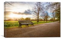 Empty Benches in Greenwich Park, Canvas Print