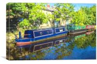 Moored on the canal, Canvas Print
