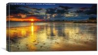 Sunset from West Clacton Beach, Canvas Print