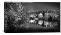 Flatford Mill in Monotone, Canvas Print