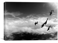 skydive in the clouds, Canvas Print