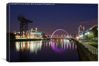 Squinty Bridge, Glasgow at night., Canvas Print