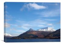 Pap of Glencoe across Loch Leven., Canvas Print