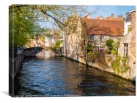 Bruges canal on a spring morning, Canvas Print