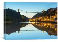 Clifton Suspension Bridge, Bristol, evening, seen , Canvas Print