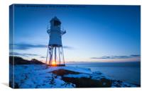 Sunset at Black Nore Point Lighthouse in winter, Canvas Print