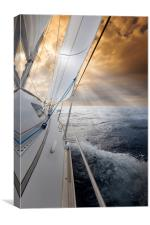 Sailing towards the sunset, Canvas Print