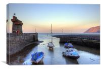Lynmouth Harbour Sunset, Canvas Print
