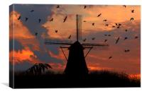 mill and gulls at sunset  , Canvas Print